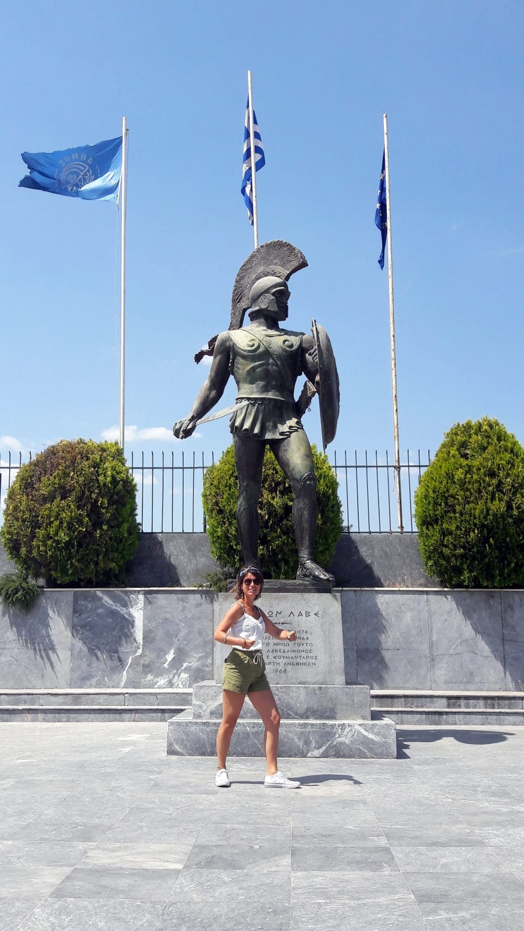 la statue d'un spartiate à sparte