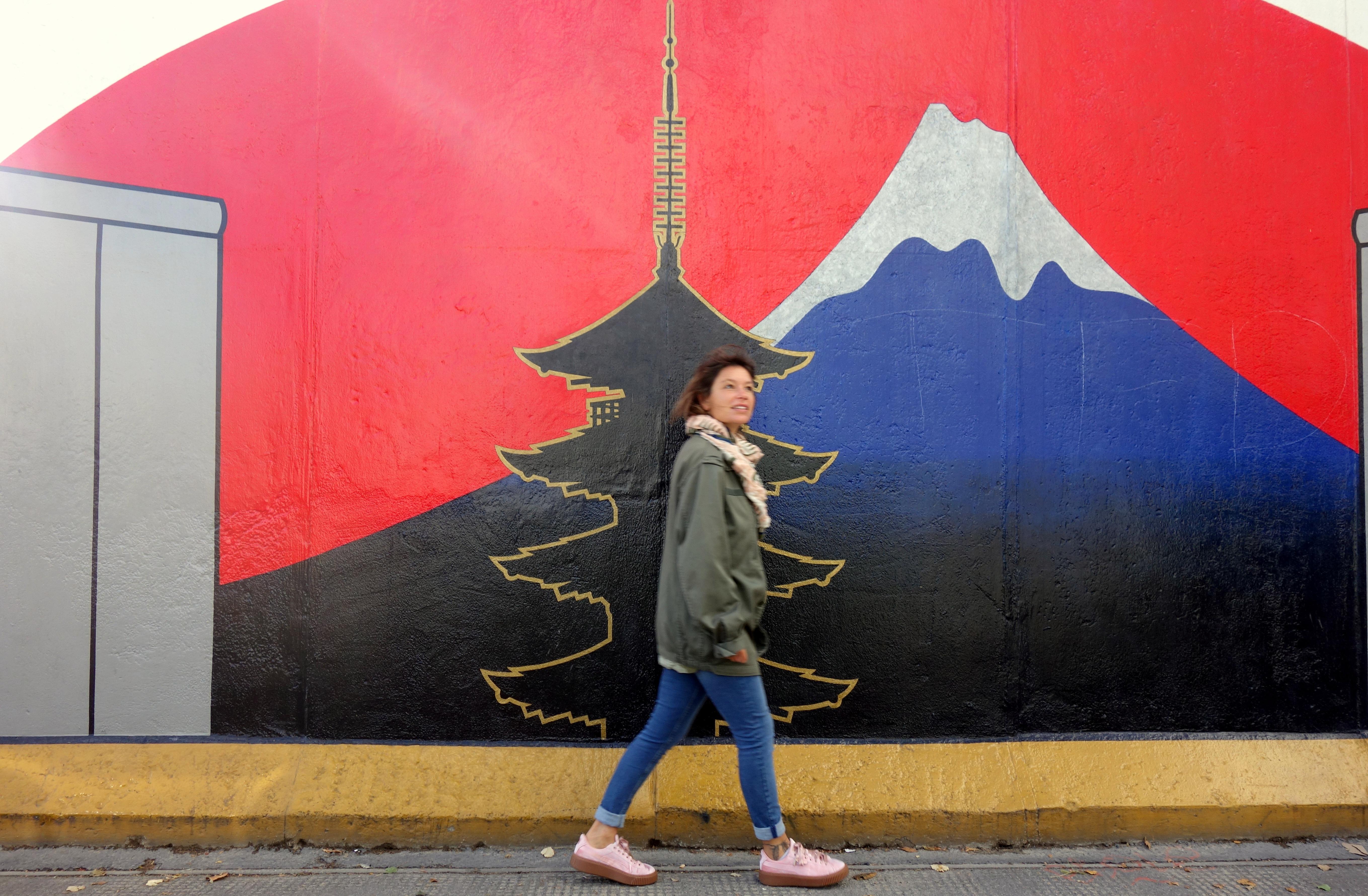 Une des fresques du mur de Berlin